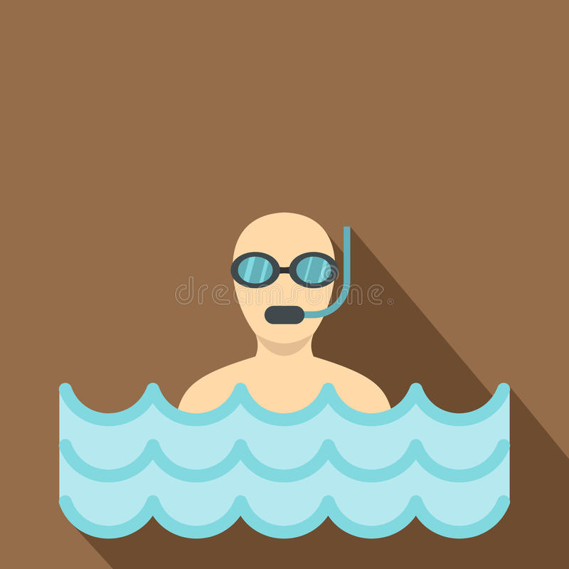 Diver with scuba icon, flat style. Diver with scuba icon. Flat illustration of diver with scuba vector icon for web royalty free illustration