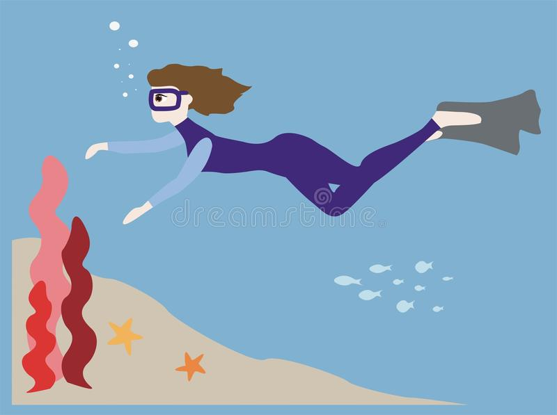 Download Diver on sea bottom stock vector. Image of female, oxygen - 33505782