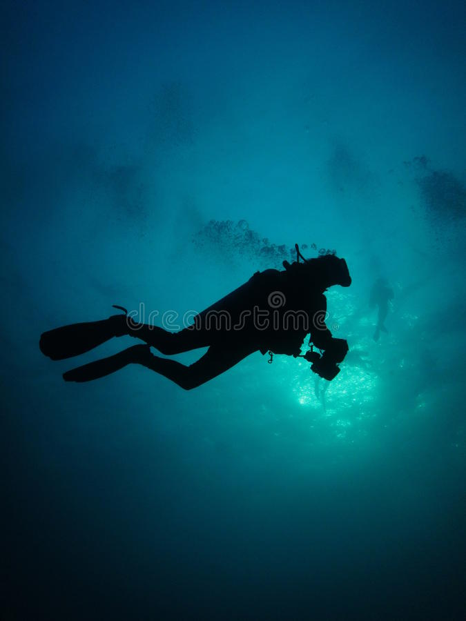 Diver silhoutte royalty free stock images