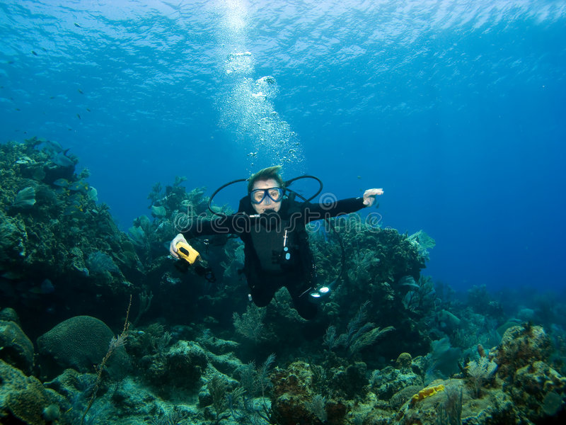 Diver smiling underwater. On a Caribbean Reef royalty free stock photography