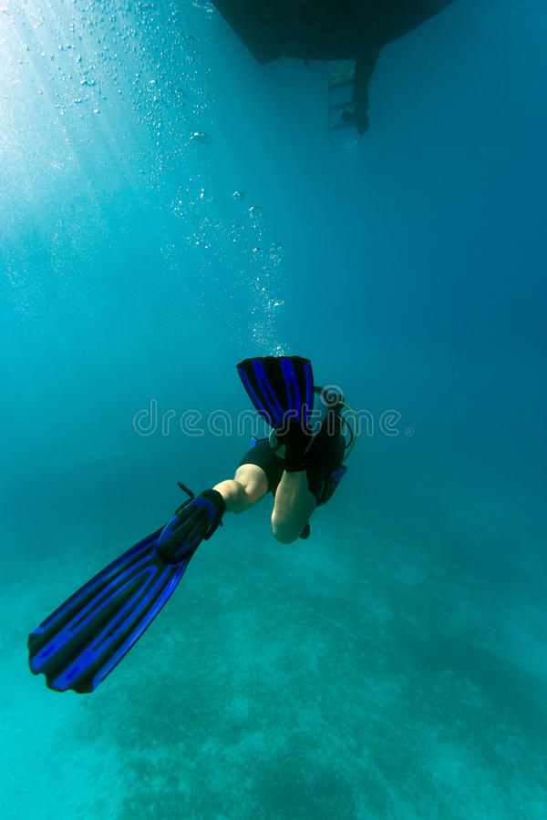Download Diver under the boat stock photo. Image of bubbles, water - 34217194