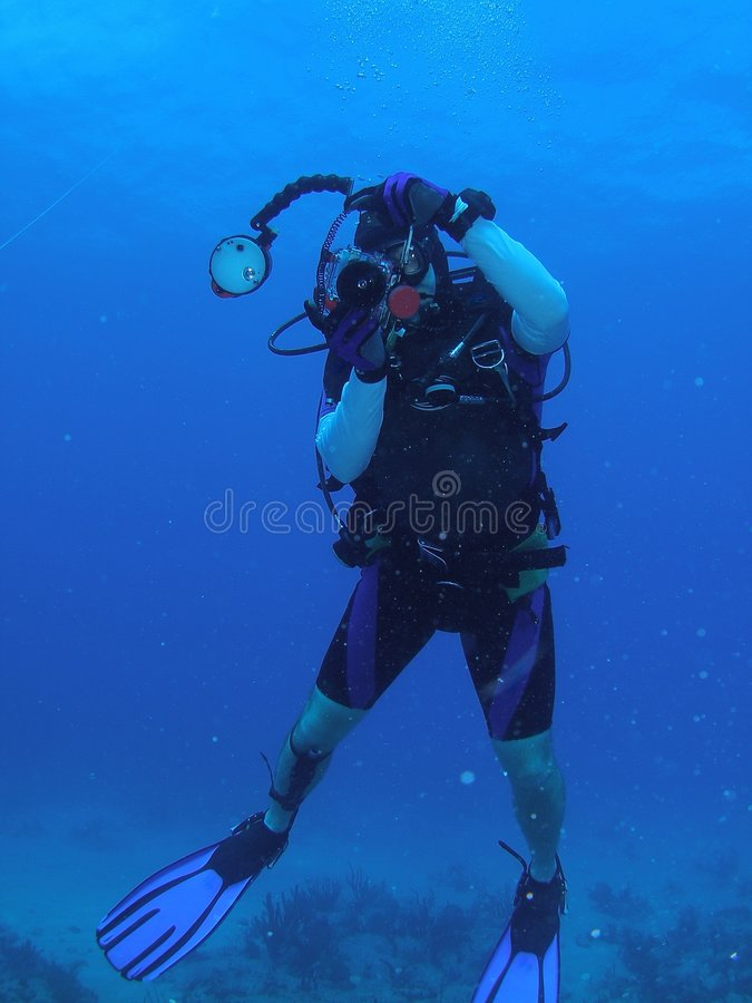 Diver with underwater Camera royalty free stock photos