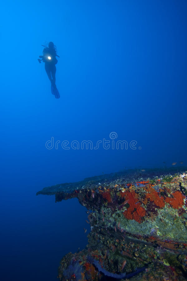 Diver Underwater With Ship Stock Photo