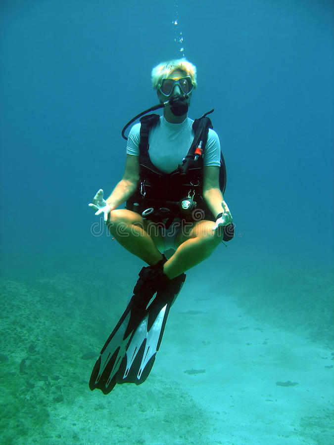 Diver weightless underwater royalty free stock image