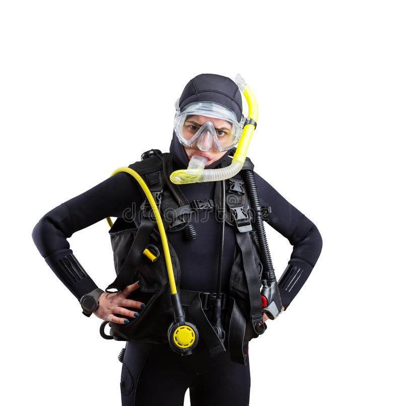 Diver in wetsuit and diving gear, white background stock photos