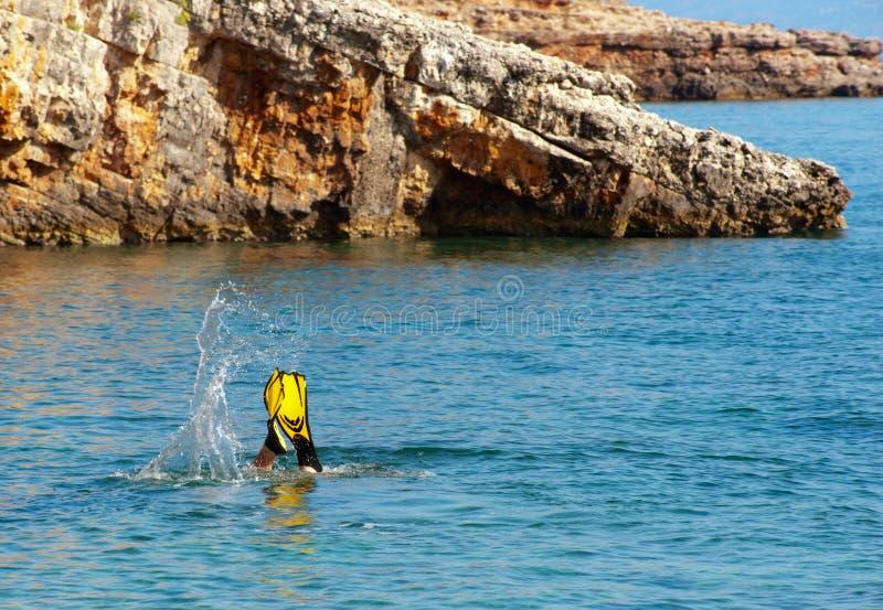 Download Diver on Zakynthos. stock photo. Image of snorkle, splash - 14857794