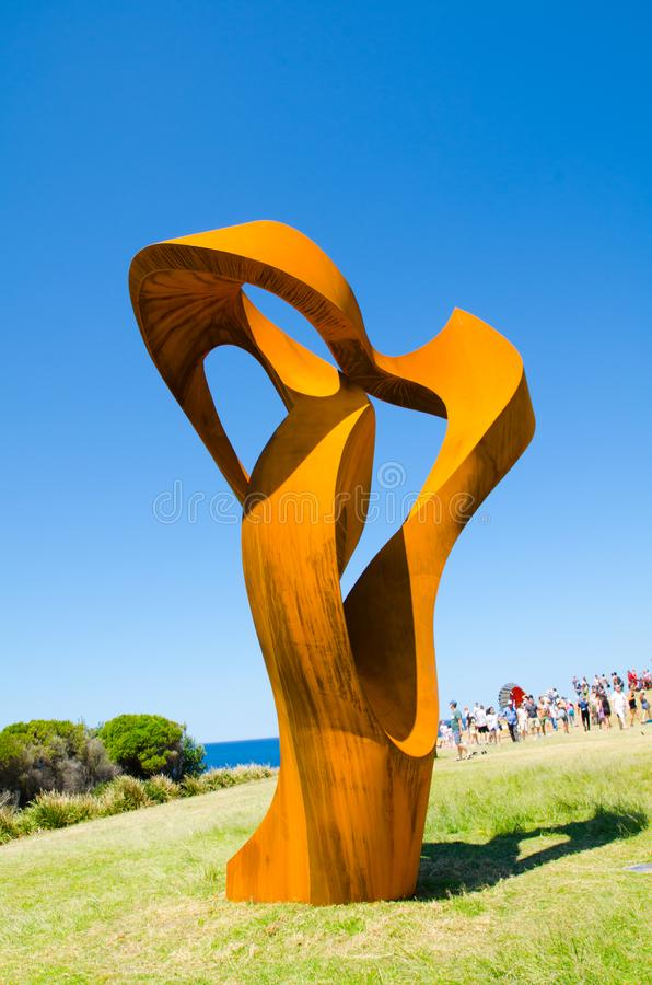 ` Divergent ` is a sculptural artwork by Johannes Pannekoek at the Sculpture by the Sea annual events free to the public. SYDNEY, AUSTRALIA. – On October stock images