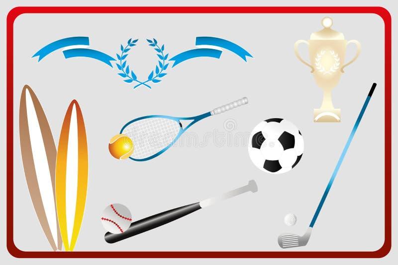 Divers équipements de sport d'isolement dans la rétro conception illustration de vecteur