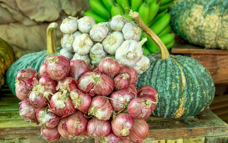 Divers ail de légumes, oignon rouge, potirons verts et de bananes toujours fond de style de vie image libre de droits