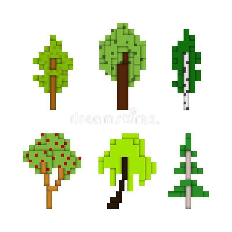 Divers arbres d'art de pixel d'isolement sur le blanc illustration stock