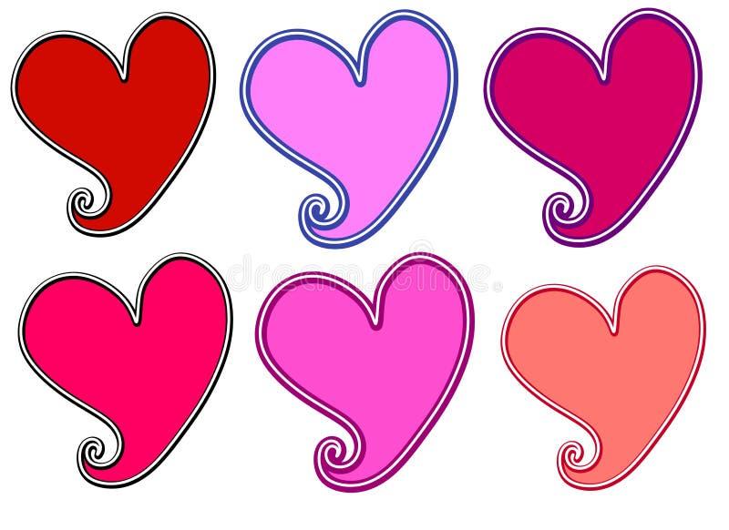 Divers Art. van de Klem van de Harten van de Dag van de Valentijnskaart vector illustratie