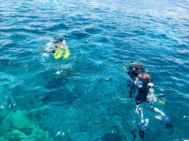 Divers in black diving waterproof suits with shiny metal aluminum canisters float, dive into the blue sea water on vacation, a sea stock image