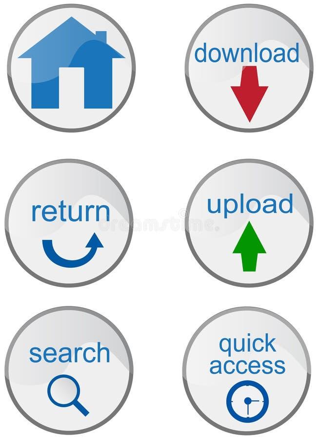 Divers boutons d'Internet illustration de vecteur