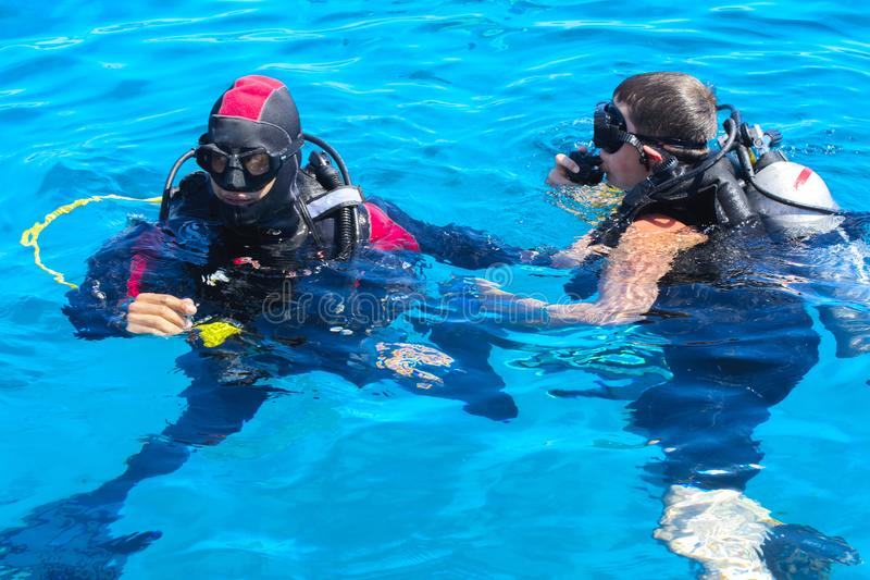 Divers on the clear and turquoise Red Sea on immersion in beautiful corals and colorful fish. stock images