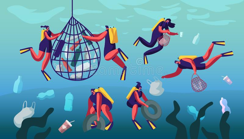 Divers Collecting Trash into Basket Underwater. Plastic Pollution of Sea with Different Kinds of Garbage. Wastes Floating in Water royalty free illustration
