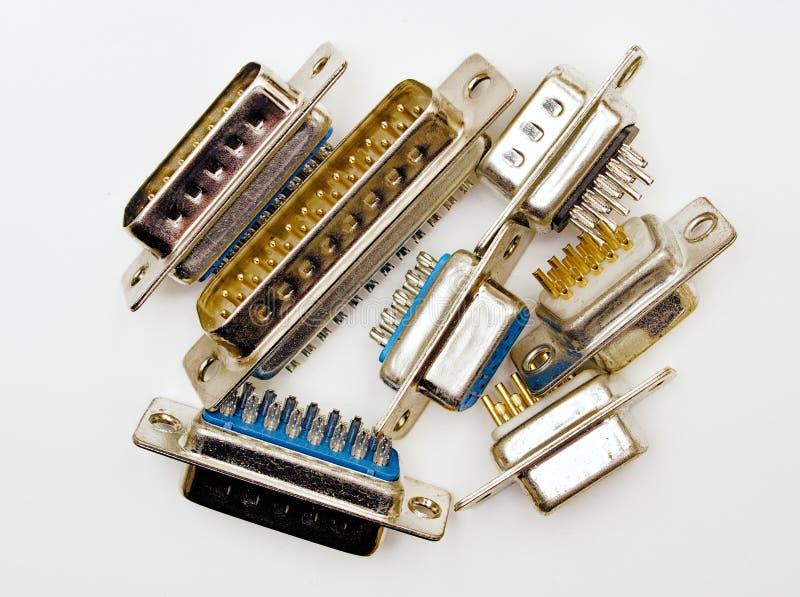 Divers connecteurs mâles en métal photographie stock libre de droits