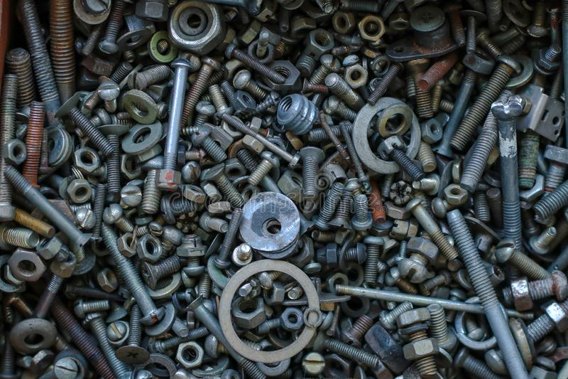 Divers détails en métal comme fond, vue supérieure photographie stock