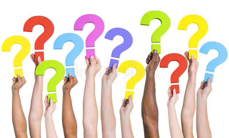Divers de Vraagconcept van Handen Communautair FAQs stock afbeeldingen