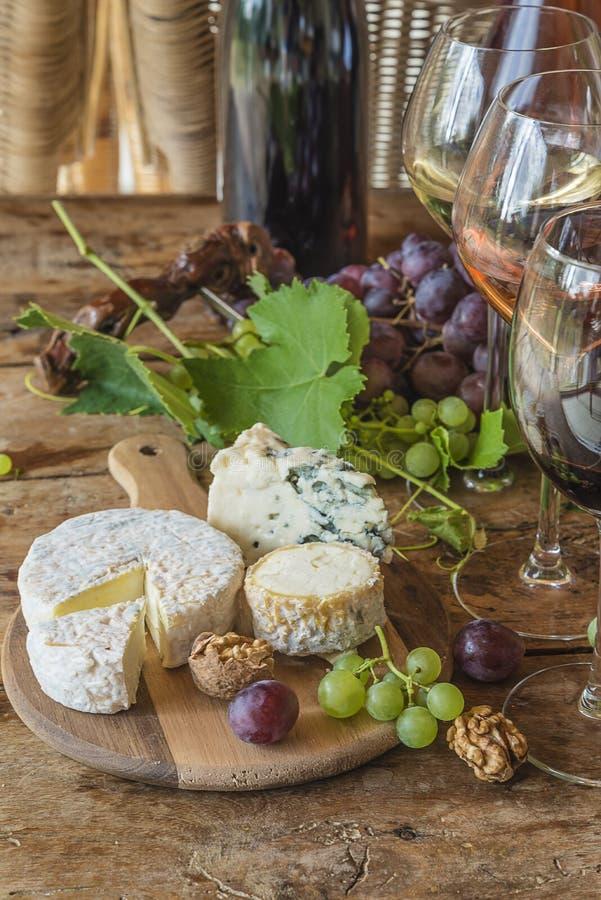 Divers des fromages, des écrous, des raisins et du vin français photos libres de droits