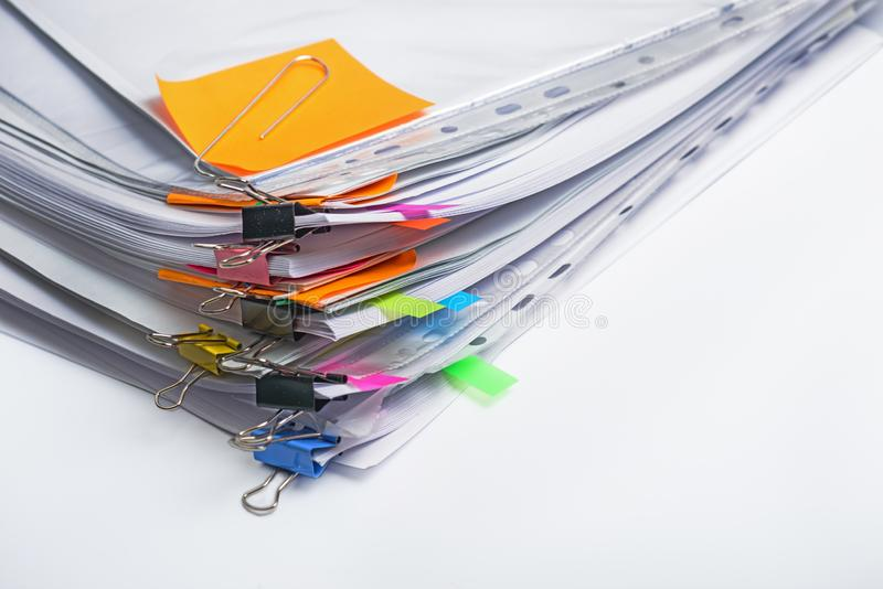 Divers documents de pile Fond de concepts d'affaires et de finances image stock