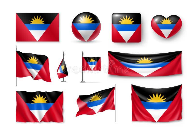 Divers drapeaux d'ensemble de l'Antigua-et-Barbuda illustration stock