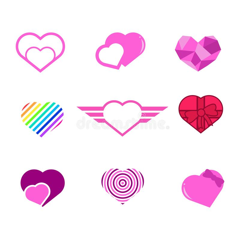 Divers ensemble de graphique d'illustration de vecteur de formes de coeur d'amour illustration stock