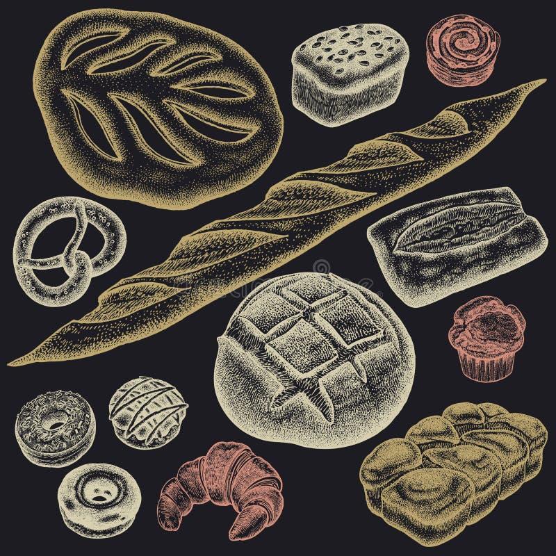 Divers ensemble de produits de boulangerie illustration libre de droits