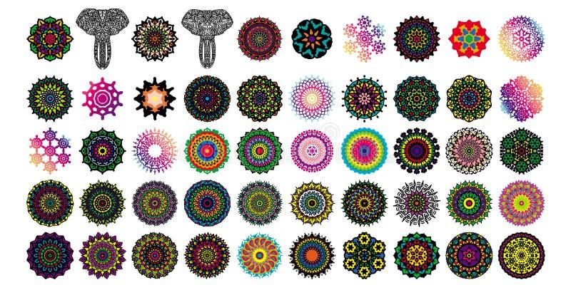 Divers ensembles de collections de mandala Style de Boho Des dossiers de vecteur peuvent ?tre appliqu?s pour imprimer et des m?di photo stock