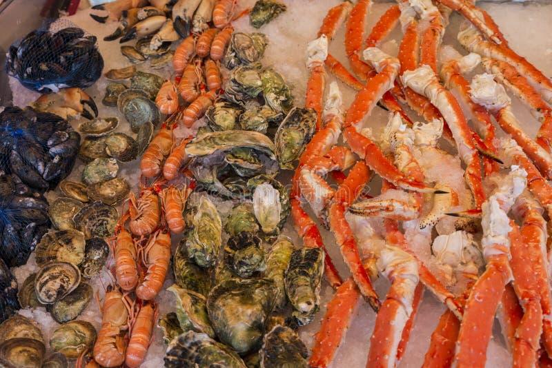 Divers fruits de mer sur les étagères de la poissonnerie à Bergen dans N photographie stock libre de droits