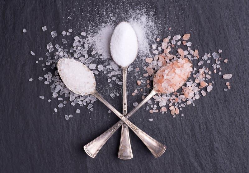 Divers genres de sel dans des cuillères d'argent sur le fond en pierre noir photo stock