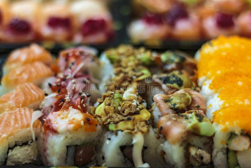 Divers genres de sushi photographie stock