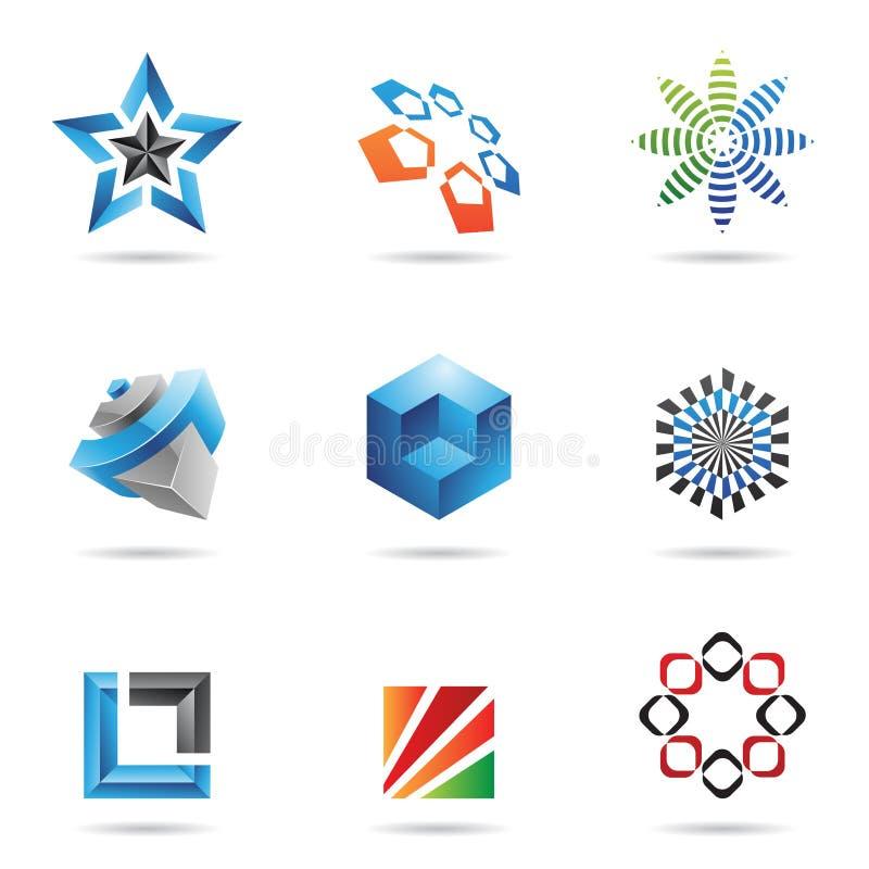 Divers graphismes abstraits colorés, positionnement 2 illustration de vecteur
