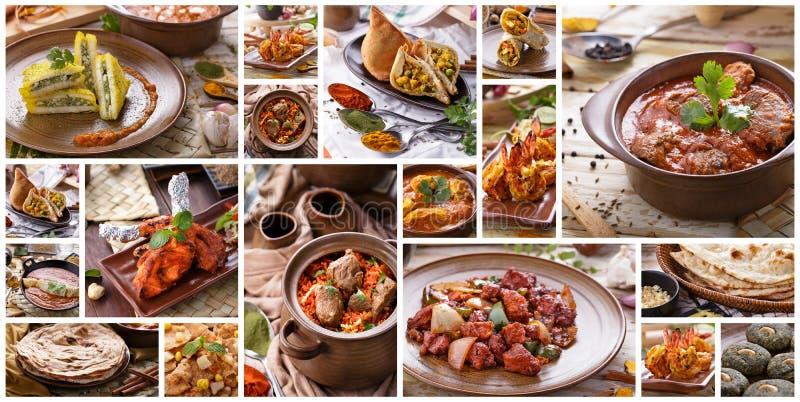 Divers Indisch voedselbuffet, collage stock afbeeldingen