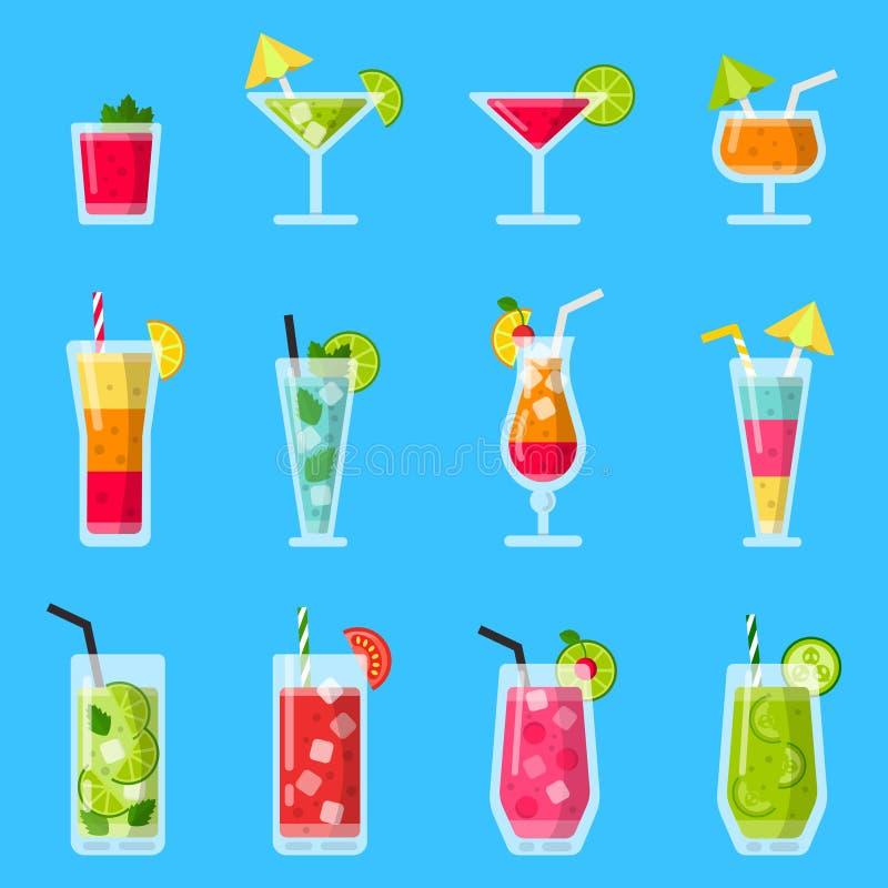 Divers jus et cocktails frais Vecteur réglé dans le style plat illustration stock