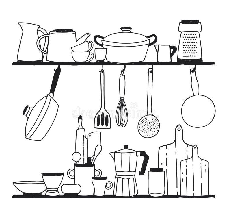 Divers keukengerei voor het koken, hulpmiddelen voor voedselvoorbereiding of cookware status op planken en het hangen op haken vector illustratie