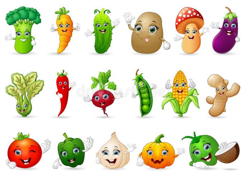 Divers légumes drôles de bande dessinée illustration de vecteur