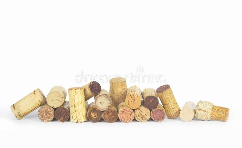 Divers lièges de vin dans une rangée, photographie stock libre de droits