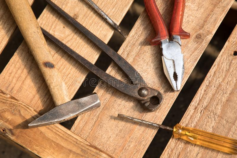 Divers outils pour le travail photographie stock