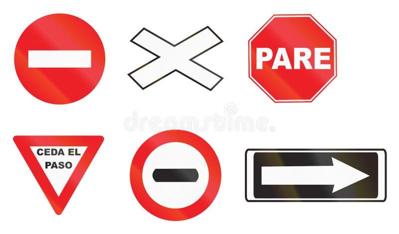 Divers panneaux routiers en Uruguay illustration de vecteur