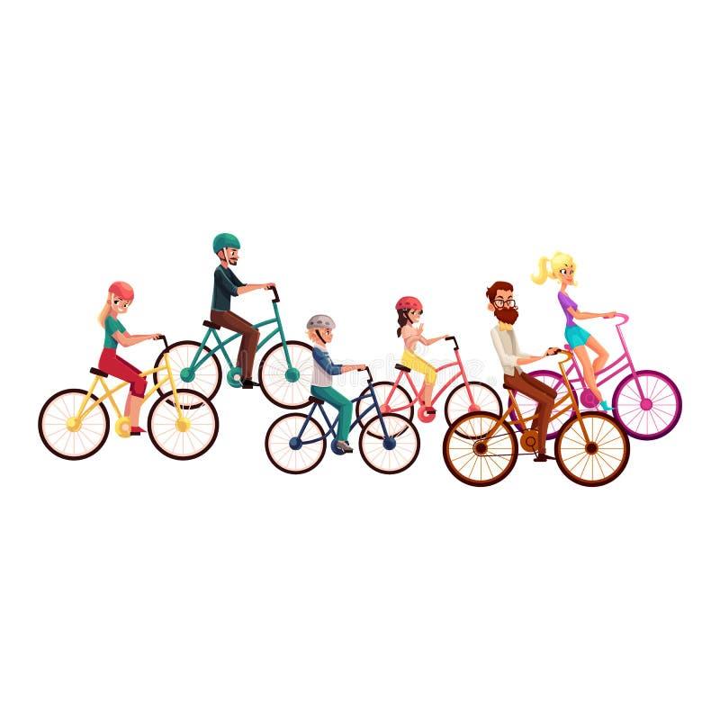 Divers personnes, hommes et femmes, bicyclettes de monte, faisant un cycle, activités d'été illustration stock