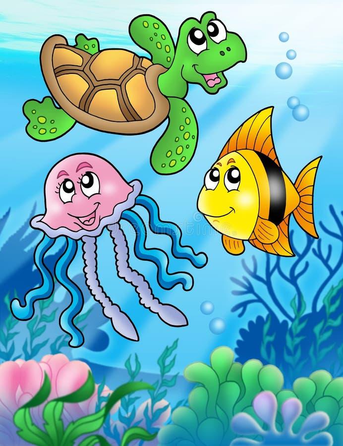 Divers poissons de mer et animaux illustration libre de droits