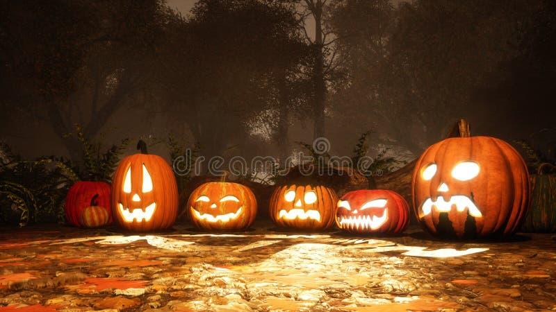 Divers potirons de Halloween dans la forêt de chute au crépuscule photographie stock libre de droits