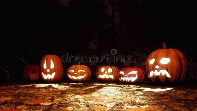 Divers potirons de Halloween dans la forêt foncée la nuit illustration stock