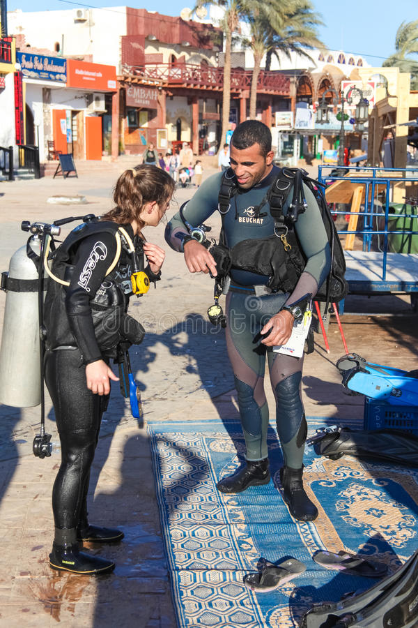 Divers are preparing royalty free stock image