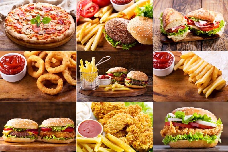 Divers produits d'aliments de préparation rapide images stock
