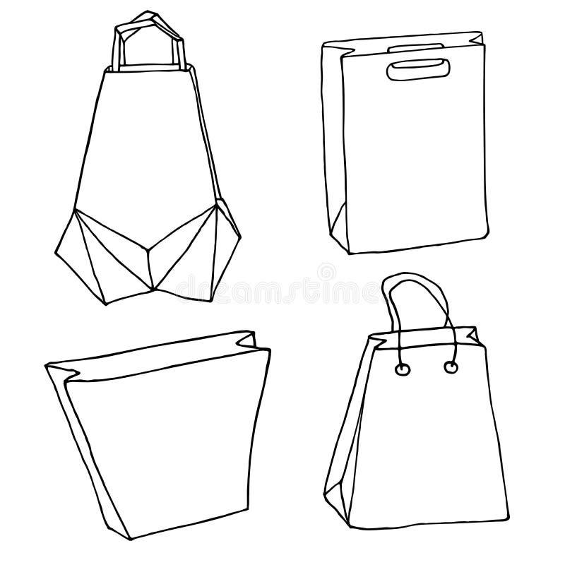 Divers sacs Sacs à main, paniers, sac innovateur d'origami illustration de vecteur