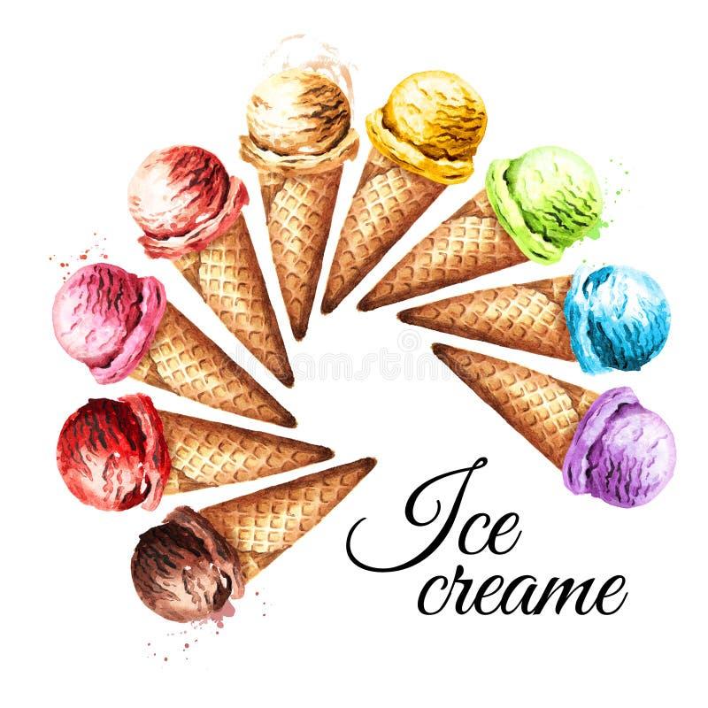 Divers scoops de crème glacée dans la carte de gaufres Illustration tirée par la main d'aquarelle, d'isolement sur le fond blanc illustration stock