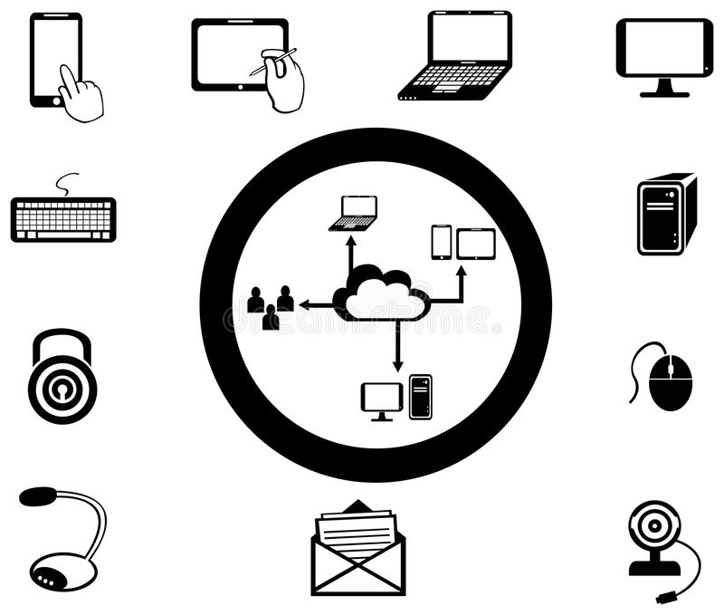 Divers service informatique et icône de media de réseau et collecti d'APP illustration libre de droits