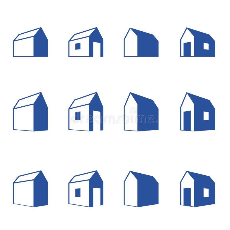 Divers signes de petites maisons dans le point de vue illustration stock