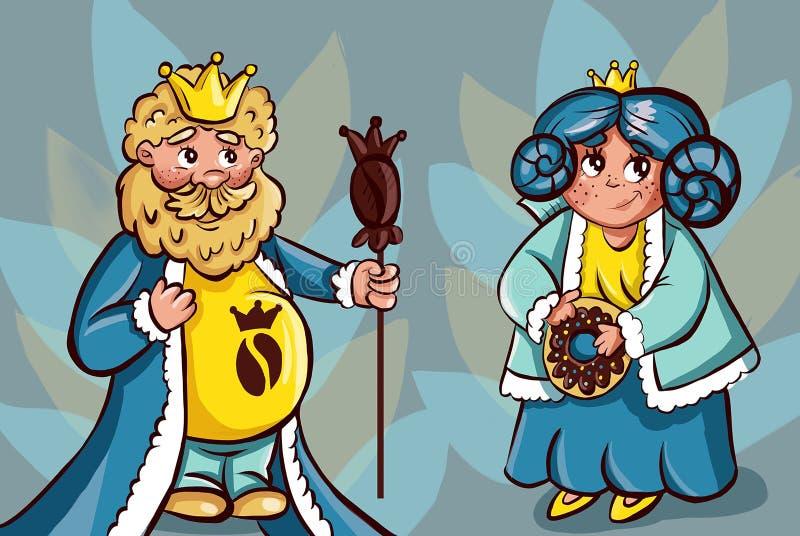 Divers symboles du roi et de la reine du café illustration de vecteur